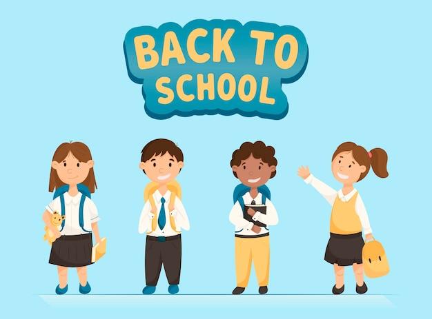 Insieme di vettore del fumetto dei bambini divertenti. alunni con libri e zaini sorridenti. torna alla bandiera della scuola.