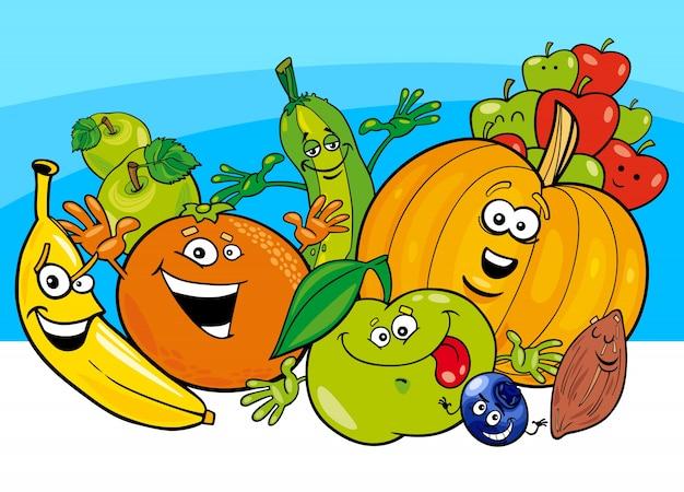 Cartoni animati di frutta e verdura