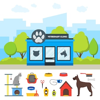 Cartone animato clinica veterinaria edificio ed elementi set stile piatto design trattamento degli animali domestici. illustrazione vettoriale