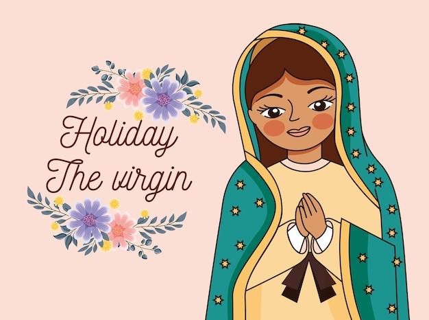 Cartone animato della vergine di guadalupe con le mani unite in preghiera