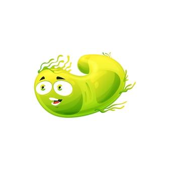 Germe di batteri verdi dell'icona di vettore delle cellule del virus dei cartoni animati