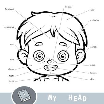 Dizionario visivo dei cartoni animati per bambini sul corpo umano. le mie parti di testa per un ragazzo.