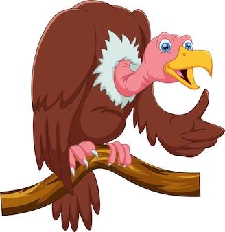 Avvoltoio cartone animato sull'albero pollice in alto