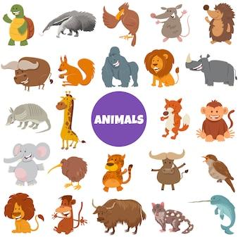 Grande insieme dei caratteri degli animali selvatici del fumetto