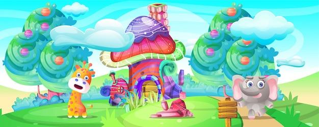 Cartone animato animale selvatico nella terra della fantasia