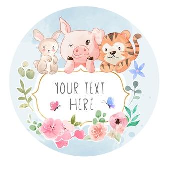 Amicizia degli animali selvatici del fumetto con il segno e l'illustrazione variopinta dei fiori