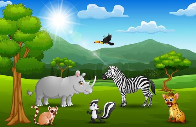 Animale selvatico del fumetto nella giungla con uno sfondo di montagna