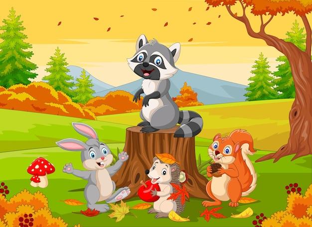 Animali selvatici dei cartoni animati nella foresta autunnale