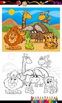 Pagina da colorare di animali selvatici dei cartoni animati