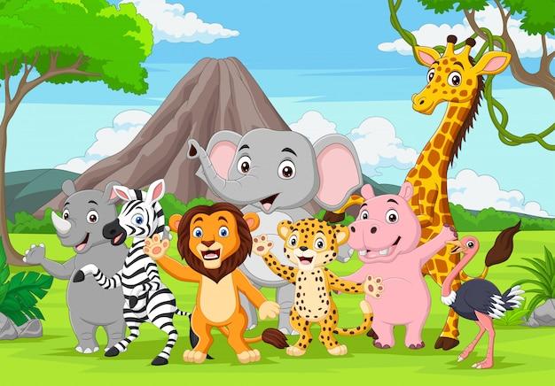 Animali selvatici del fumetto nella giungla