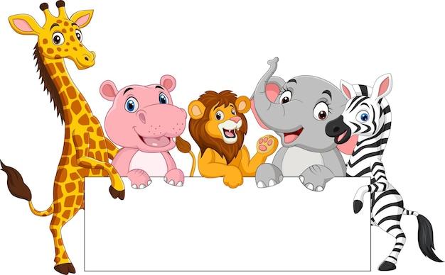 Animali selvatici del fumetto con segno in bianco