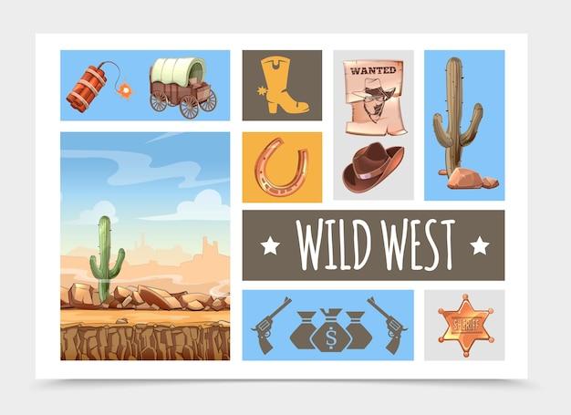 Elementi del selvaggio west del fumetto impostati con dinamite, carrello, stivale, poster ricercato, cappello da cowboy, cactus, distintivo dello sceriffo, ferro di cavallo, pistole, paesaggio desertico