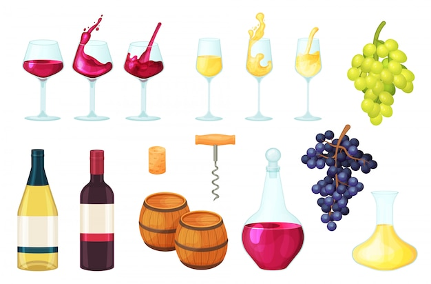Illustrazione del vino del fumetto, liquido rosso o bianco della bottiglia del bicchiere di vino dell'alcool, in vetro, icone stabilite del barilotto di bevanda su bianco