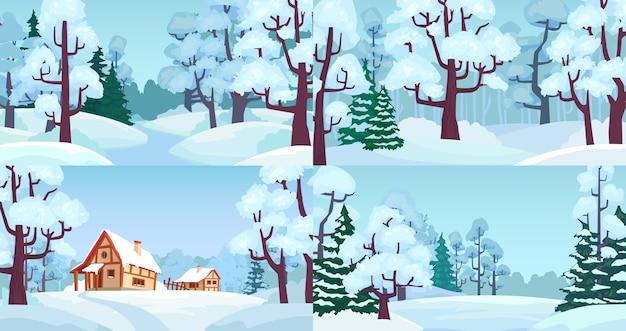 Cartoon paesaggi forestali invernali