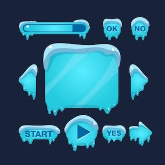 Cartoon winter game interfaccia utente Vettore Premium