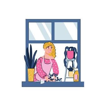 Donna del fumetto che fa il giardinaggio nel concetto di hobby di quarantena della finestra di casa