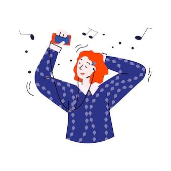 Donna del fumetto che ascolta la musica sulle cuffie e sul sorridere