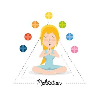 Donna fumetto praticando yoga