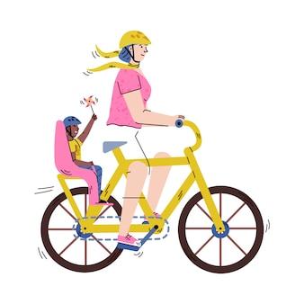 Donna del fumetto che guida bicicletta adulta con il bambino nel sedile del passeggero del bambino