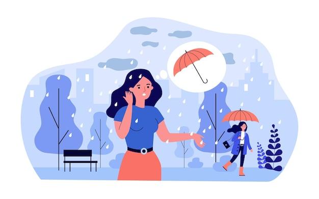Donna del fumetto in piedi sotto la pioggia senza ombrello. ragazze con e senza ombrello nel parco in caso di pioggia piatta illustrazione vettoriale. meteorologia, concetto di protezione per banner o pagina web di destinazione