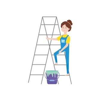 Donna fumetto su una scala a pioli e barattolo di vernice su sfondo bianco