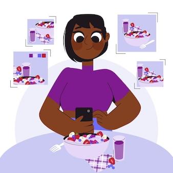 Donna cartone animato che scatta foto con il telefono