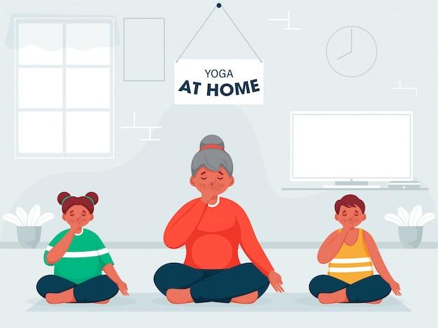 Donna del fumetto con i bambini che fanno yoga respirazione alternativa della narice nella posa seduta a casa per prevenire il coronavirus.