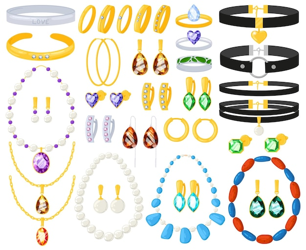 Cartoon gioielli donna oro argento collane, bracciali, orecchini, anelli. insieme dell'illustrazione di vettore degli accessori d'argento dorati dei gioielli delle donne. accessori preziosi gioiello