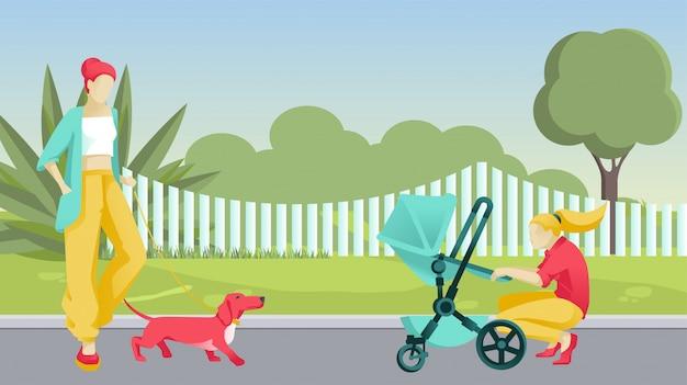 Donne del fumetto con cane e bambino in carrozzina sulla strada