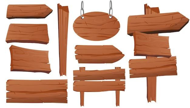 Collezione di tavole di legno dei cartoni animati