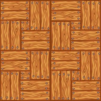 Reticolo delle mattonelle di pavimento di legno del fumetto. bordo di parquet in legno senza cuciture.