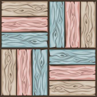 Reticolo delle mattonelle di pavimento di legno del fumetto. seamless texture in legno colori pastello bordo parquet.