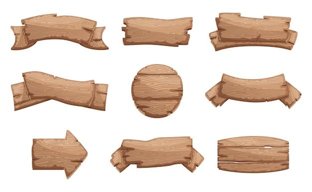 Cartelli in legno del fumetto con forme diverse Vettore Premium