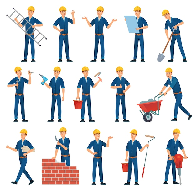Personaggio dei cartoni animati dell'operaio. operai tecnici, costruttore e meccanico.