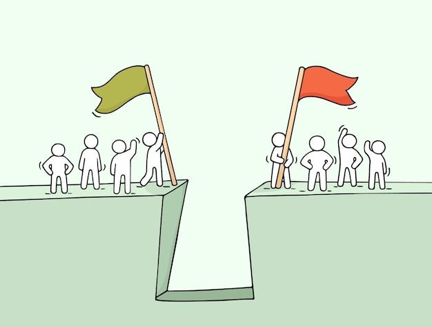 Fumetto che lavora poca gente vicino all'abisso. illustrazione disegnata a mano per progettazione aziendale e infografica.
