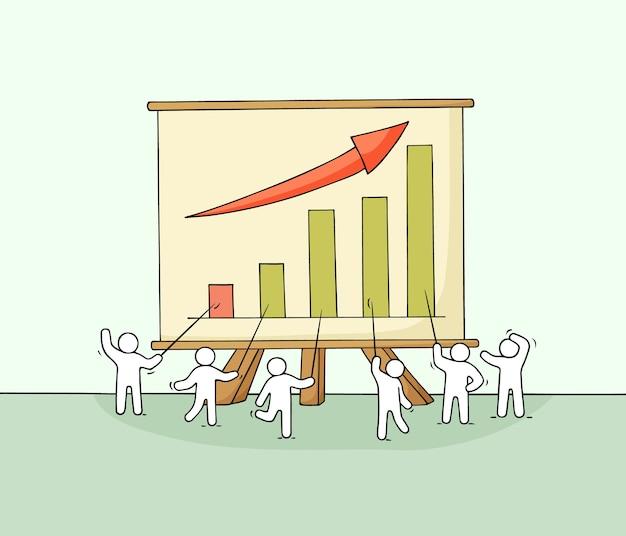 Cartone animato che lavora piccole persone con grande tavola. doodle carino scena in miniatura sulla crescita e il successo. disegnato a mano per progettazione aziendale e infografica.