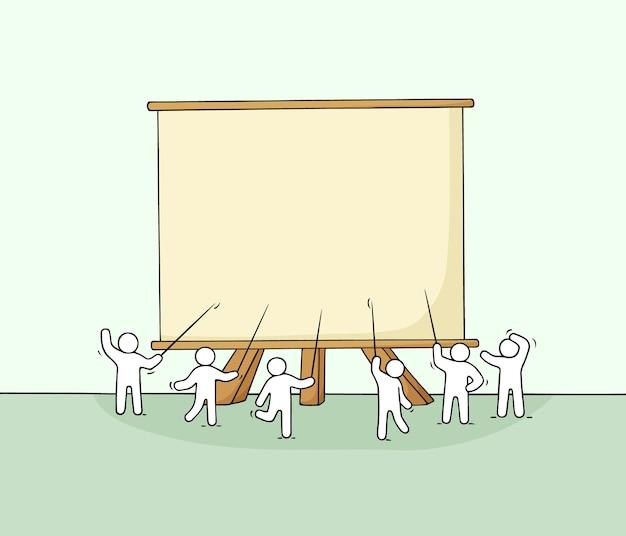Cartone animato che lavora piccole persone con grande tavola. doodle carino scena in miniatura con spazio per il testo. illustrazione vettoriale disegnato a mano per progettazione aziendale e infografica.