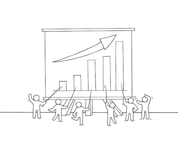 Cartoon lavorando piccole persone con grande tavola.