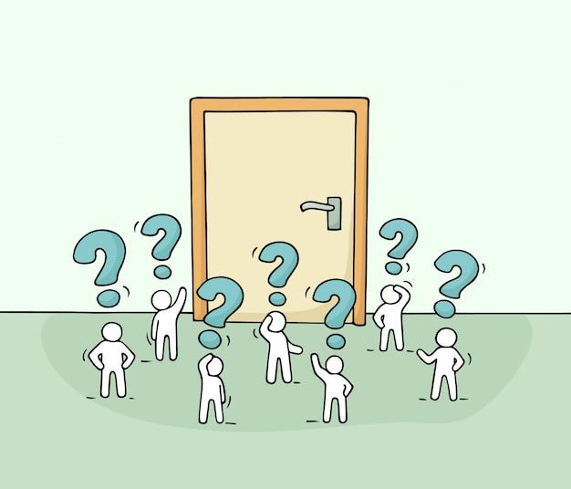 Cartone animato lavorando piccole persone con grande porta.
