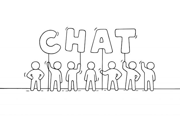 Fumetto che lavora poca gente con la parola chat.