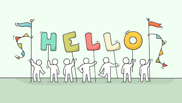 Fumetto che lavora piccole persone con la parola ciao. illustrazione disegnata a mano per la progettazione di affari e amicizia.