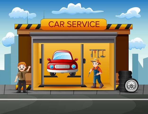 Officina del fumetto con la squadra del meccanico che ripara un'automobile