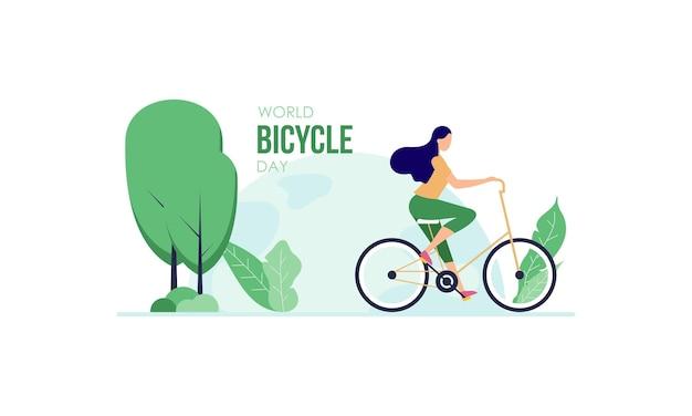 Illustrazione della giornata mondiale della bicicletta dei cartoni animati