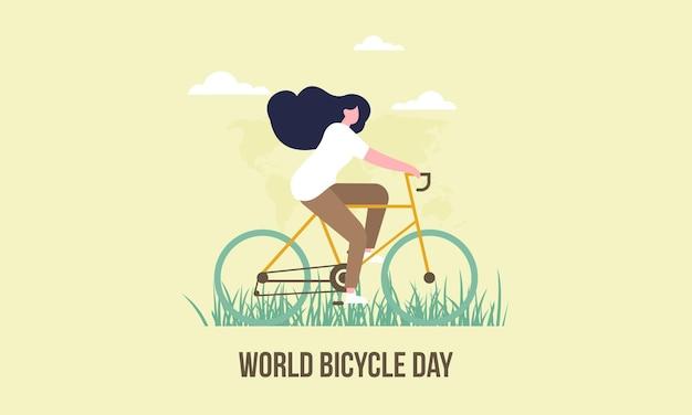 Illustrazione della giornata mondiale della bicicletta dei cartoni animati Vettore Premium