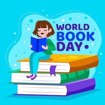 Cartoon giornata mondiale del libro illustrazione