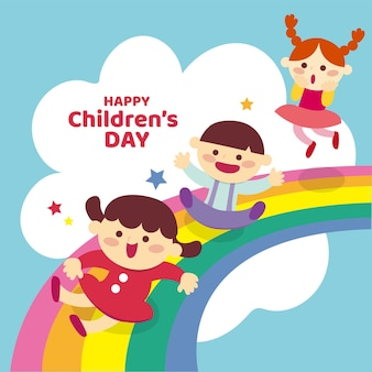 Illustrazione della giornata mondiale dei bambini dei cartoni animati vettore premium