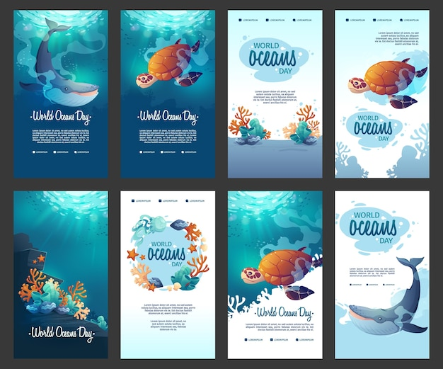 Raccolta di storie di instagram di giornata mondiale degli oceani dei cartoni animati