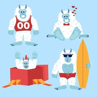 Cartoon yeti abominevole pupazzo di neve illustrazione