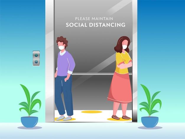 Cartoon giovane ragazzo e ragazza che indossa una maschera protettiva con il mantenimento della distanza sociale in ascensore per evitare di evitare il coronavirus.