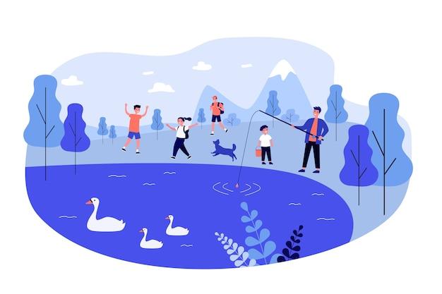Giovani personaggi dei cartoni animati che hanno divertimento alla natura.